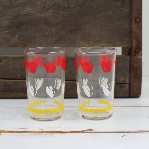 SOLD - Vintage 1950s Federal Glass Tulip Juice Glasses