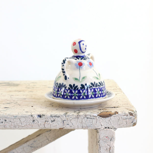 SOLD - Vintage Figural Polish Pottery Cheese Dome