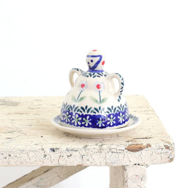 SOLD - Vintage Polish Pottery Figural Cheese Dome