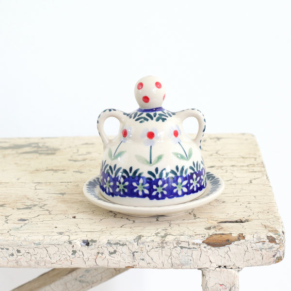 Vintage Polish Pottery Figural Cheese Dome