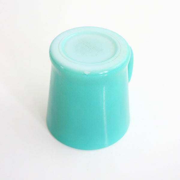 SOLD - Mid Century Aqua Blue Fire King D Handle Milk Glass Mug