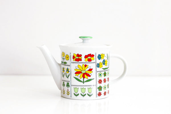 SOLD - Vintage Colorful Mod Floral Teapot by Toscany Japan