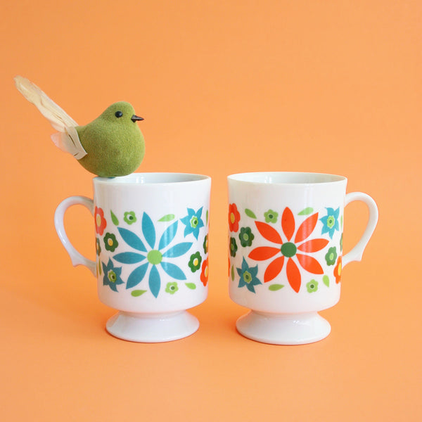 SOLD - Mid Century Modern Colorful Flower Mugs