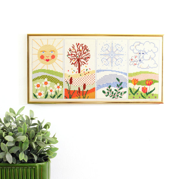 SOLD - Vintage Four Seasons Cross Stitch