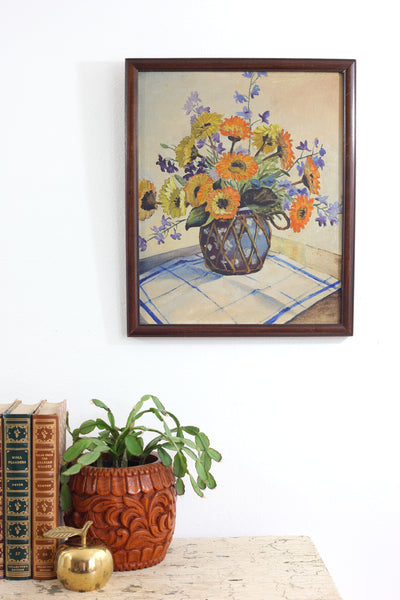 SOLD - Vintage Framed Floral Still Life Painting