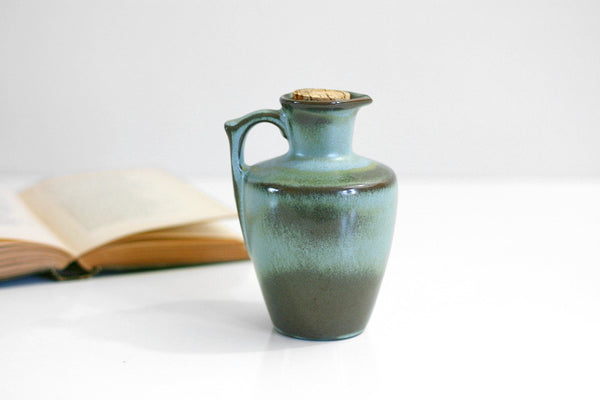 SOLD - Mid Century Modern 1950s Frankoma Pottery Pitcher / Plainsman in Woodland Moss