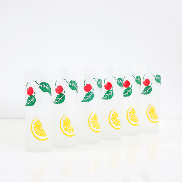 SOLD - Vintage Frosted Fruit Tom Collins Glasses