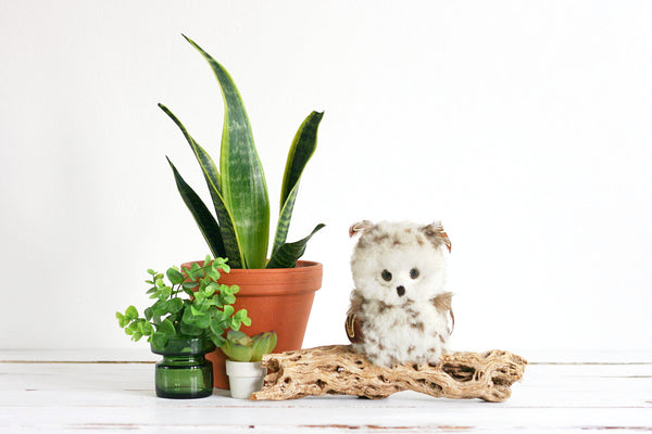 SOLD - Vintage 1970s Fuzzy Owl On A Drift Wood Branch / Retro Macrame Owl
