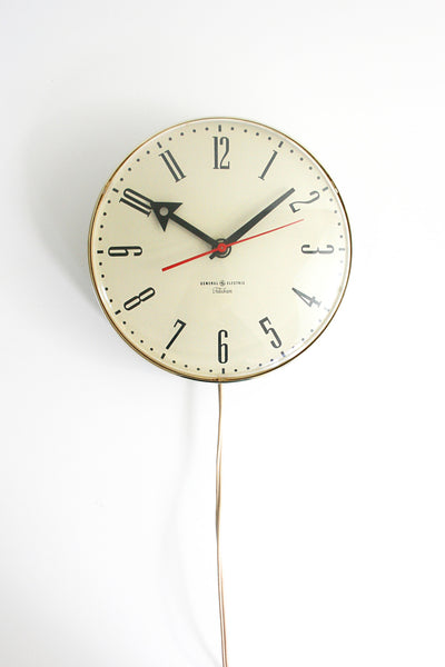 SOLD - Vintage General Electric Telechron Wall Clock / Vintage Chrome Schoolhouse Electric Clock