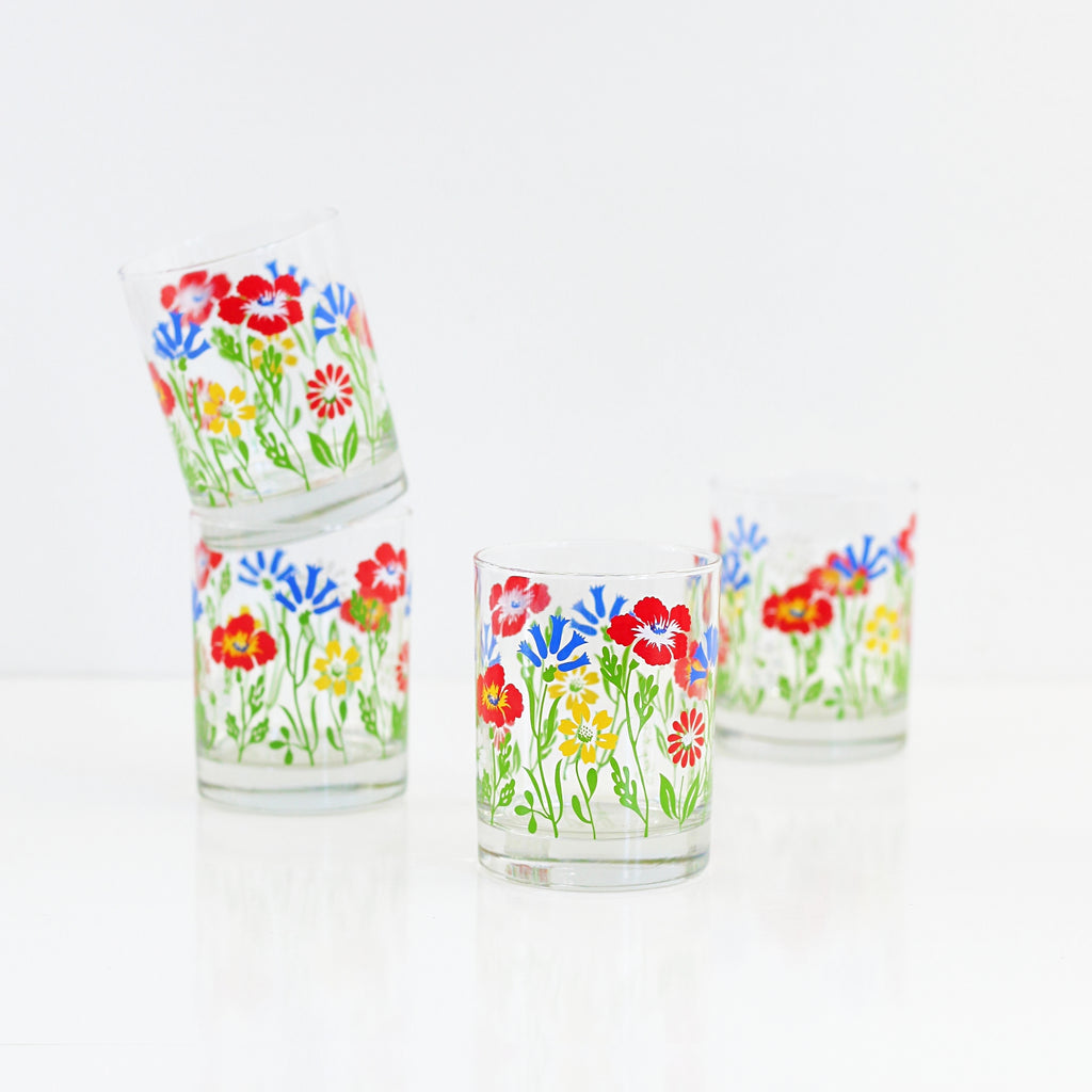 SOLD - Mid Century Georges Briard Flower Glasses