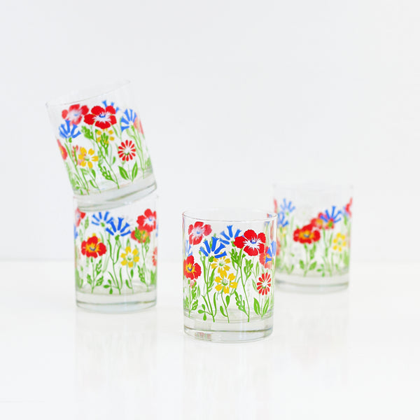 Mid Century Georges Briard Flower Glasses