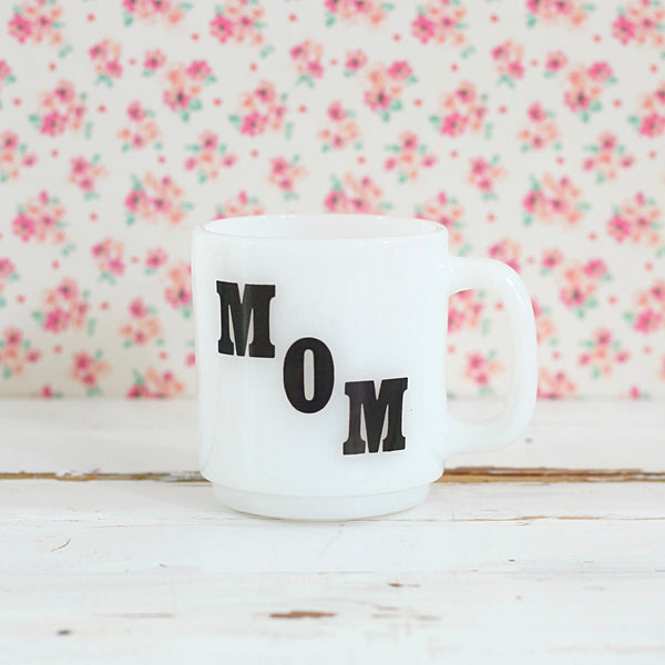 SOLD - Vintage 'Mom' Milk Glass Mug