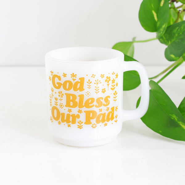 SOLD - Vintage 'God Bless Our Pad' Milk Glass Mug