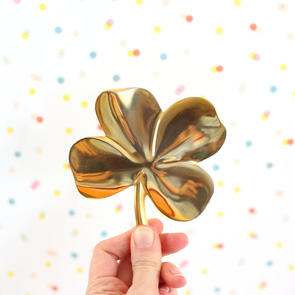 SOLD - Vintage Lucky Four Leaf Clover by Gerity / 24 Karat Gold Plate