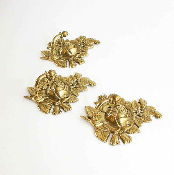 SOLD - Vintage Golden Brass Rose Flower Wall Hooks / Hollywood Regency Rose Hooks