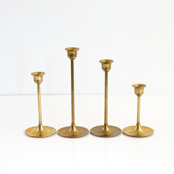 SOLD - Vintage Graduated Brass Candlesticks - Set of Four
