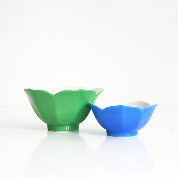 SOLD - Vintage Green and Blue Porcelain Lotus Bowls / Colorful Mid Century Lotus Bowls