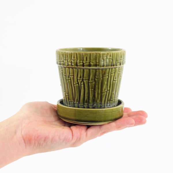 SOLD - Vintage Bamboo Pottery Planter
