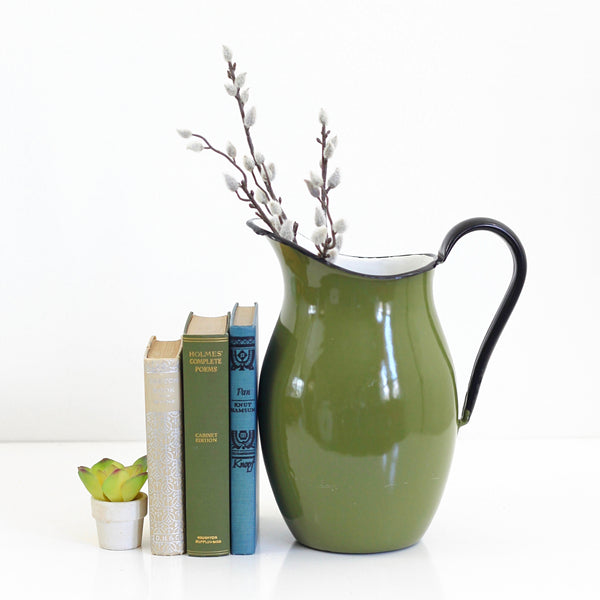 SOLD - Large Vintage Green Enamel Pitcher