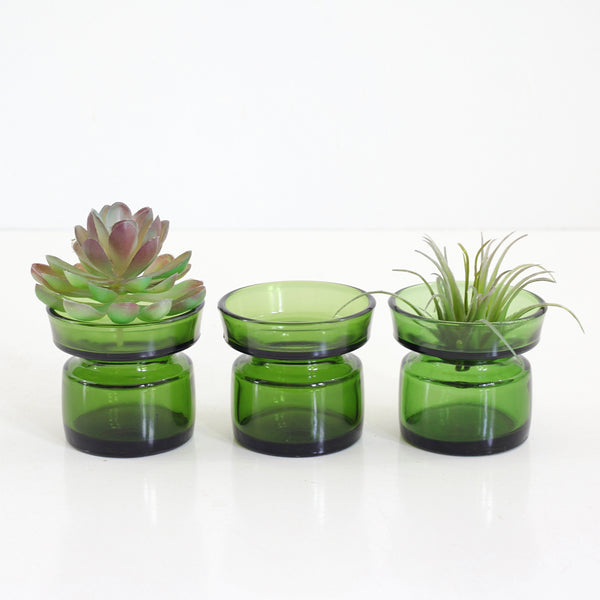 SOLD - Danish Modern Dansk IHQ Green Glass Candle Holders