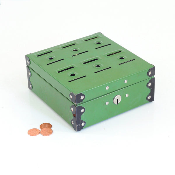 Vintage 1950s Metal Home Budget Bank Box in Green