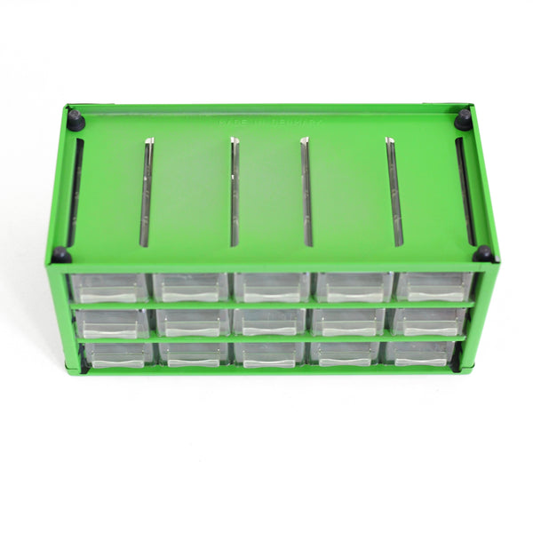 SOLD - Vintage Green Industrial Metal Organizer from Denmark