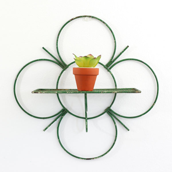SOLD - Vintage Green Quatrefoil Metal Wall Shelf