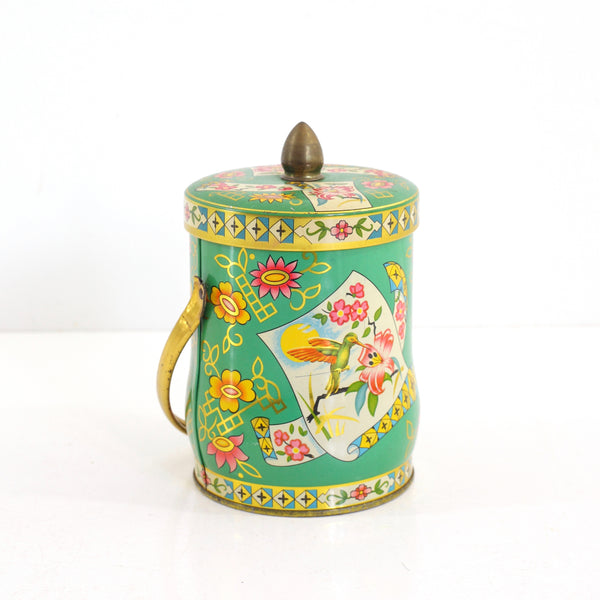 SOLD - Vintage Green Floral Tin by Murray-Allen / Regal Crown