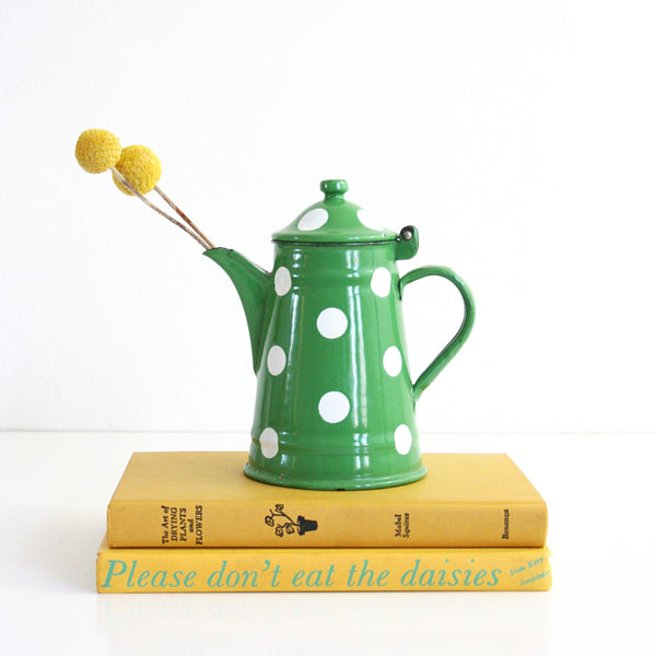 SOLD - Vintage Green and White Polka Dot Kettle by EMO Celje Yugoslavia