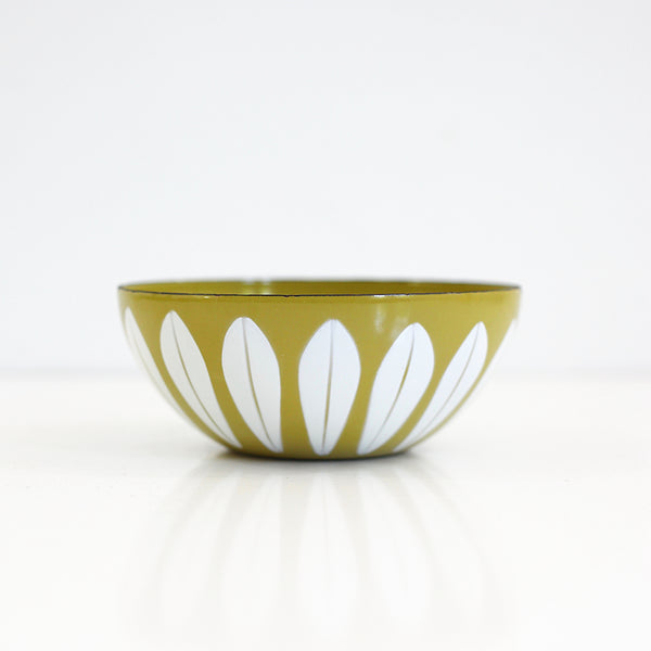 SOLD - Vintage Cathrineholm Mustard & White Enamel Lotus Bowl