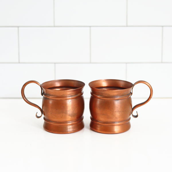 SOLD - Vintage Copper Moscow Mule Mugs
