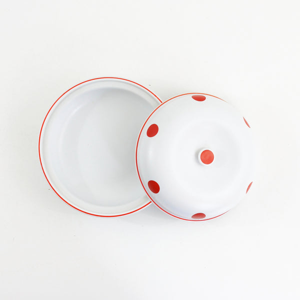SOLD - Hall's Superior Quality Kitchenware Red & White Polka Dot Casserole Dish