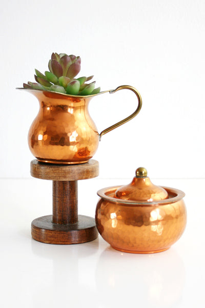 SOLD - Vintage Hammered Copper and Brass Cream and Sugar Set