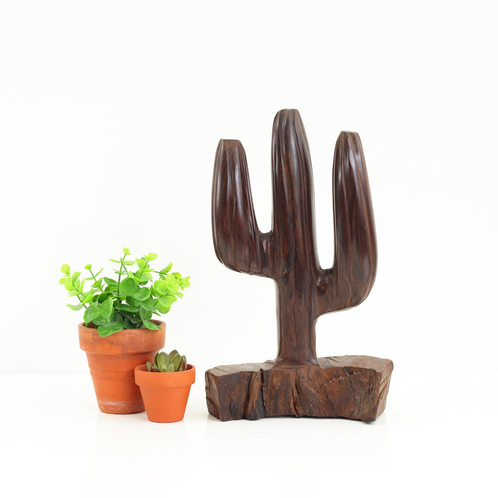 SOLD - Vintage Hand Carved Wooden Cactus