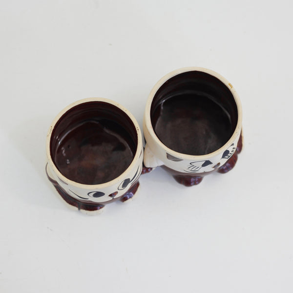 SOLD - Vintage Hand-Holding Stoneware Cat Planters