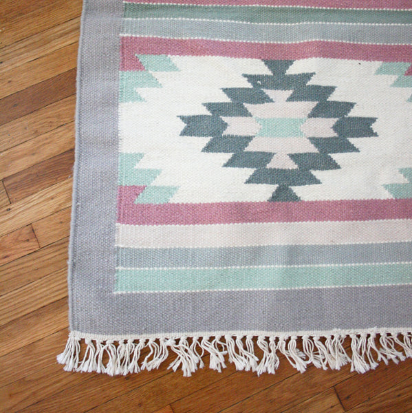 SOLD - Vintage Hand Knotted 100% Wool Pile Throw Rug / Boho Geometric Rug from India