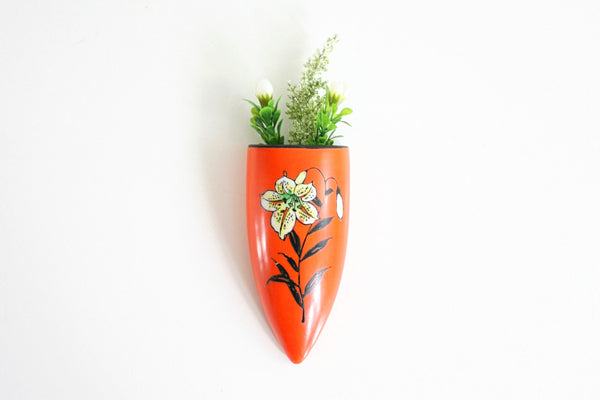 SOLD - Bright Orange Hand Painted Vintage Flower Wall Pocket from Japan