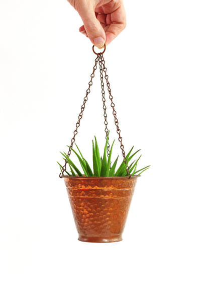 SOLD - Vintage Hammered Copper Hanging Planters by Alford Co