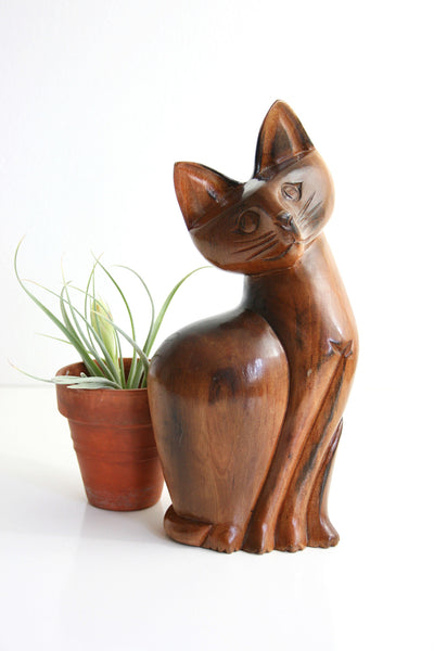 SOLD - Vintage Hand Carved Wood Cat Figurine