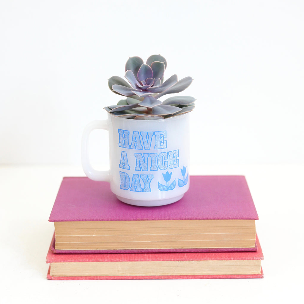 SOLD - Vintage Glasbake 'Have A Nice Day' Mug