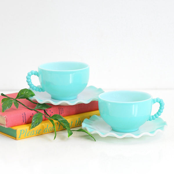 Vintage Hazel Atlas Aqua Blue Crinoline Tea Cups and Saucers
