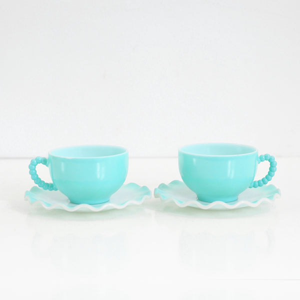SOLD - Vintage Hazel Atlas Aqua Blue Crinoline Tea Cups and Saucers