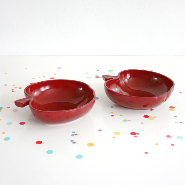 SOLD - Vintage Hazel Atlas Burgundy Milk Glass Apple Bowls / Orchard Blossom Bowls