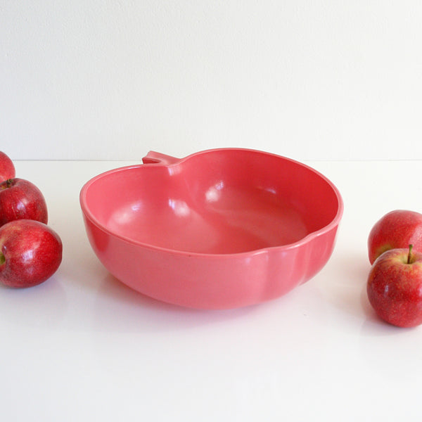 SOLD - Hazel Atlas Orchard Blossom Bowl / Mid Century Pink Apple Serving Bowl