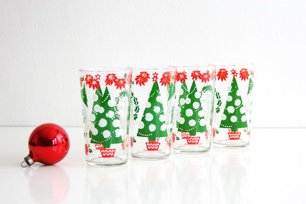 SOLD - Mid Century Christmas Glasses / Vintage Hazelware Christmas Tree Tumblers