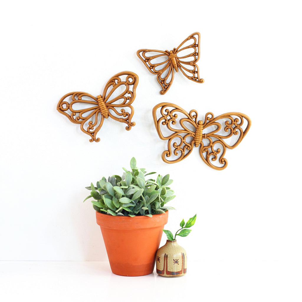 Vintage Butterflies Wall Decor By Homco Wise Apple Vintage