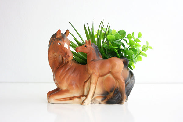 SOLD - Vintage Ceramic Horse Planter  / Brinn's of Pittsburgh Figural Plant Pot