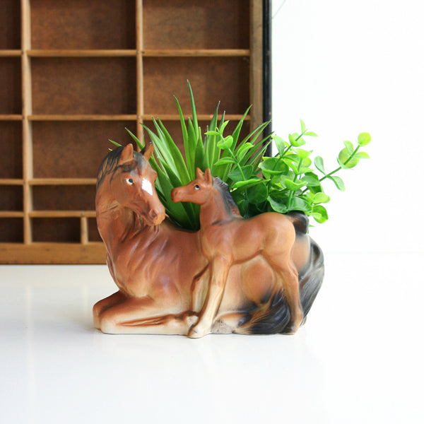 Vintage Ceramic Horse Planter  / Brinn's of Pittsburgh Figural Plant Pot