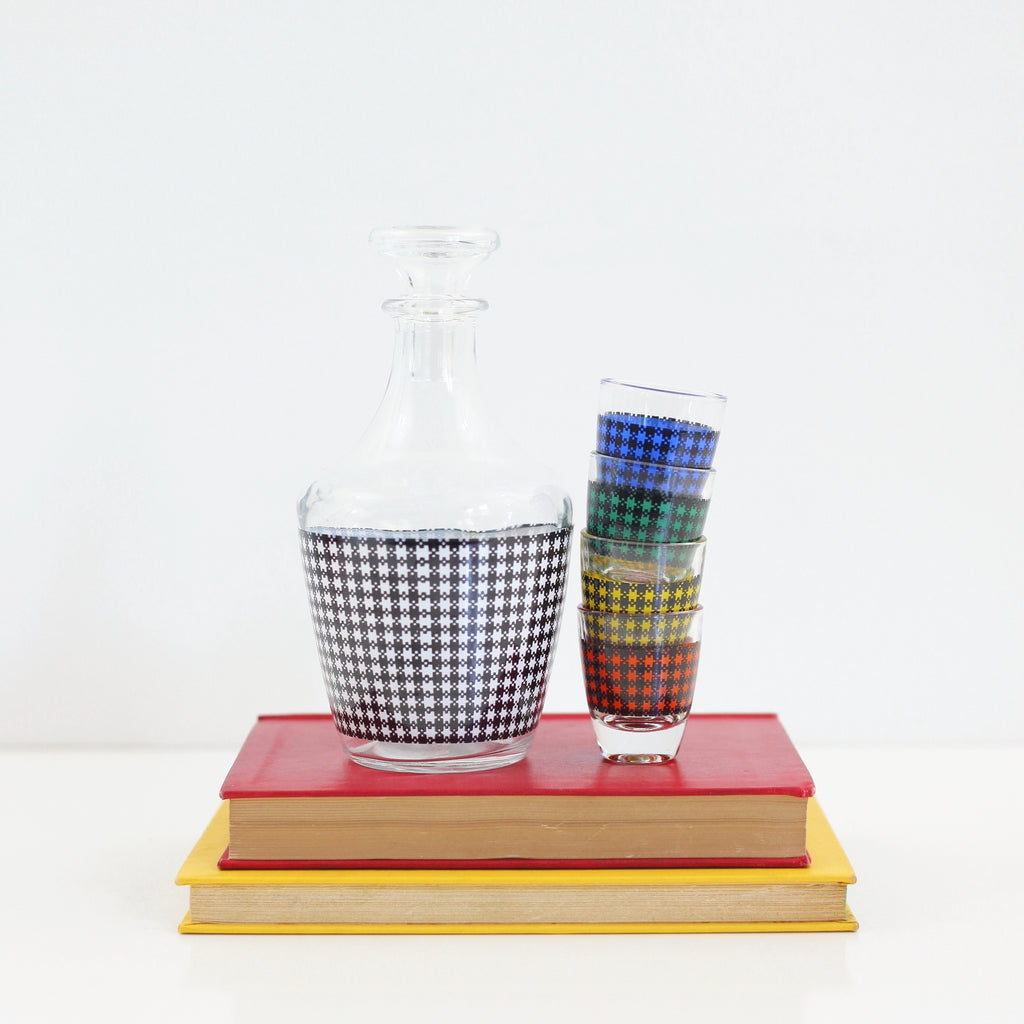 SOLD - Mid Century Houndstooth Shot Glasses & Decanter Set from France
