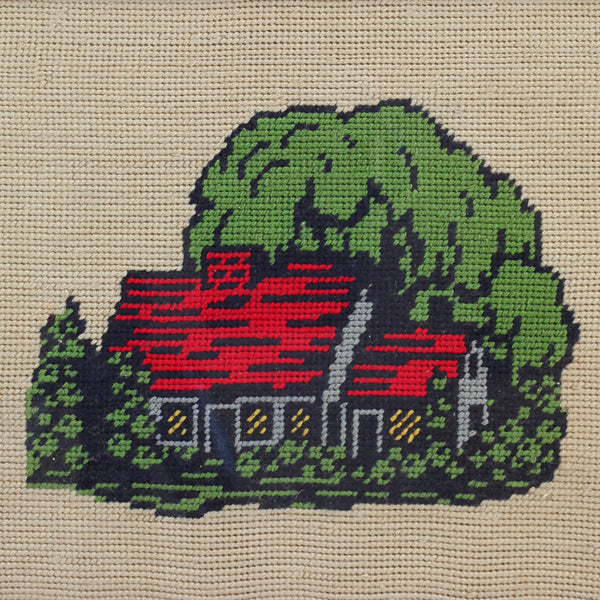 SOLD - Vintage Colorful Cottage Needlework Embroidery